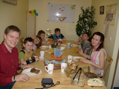 Here I am eating at a Russian family home. Think of it as a micro orphanage. It only has 4 boys and 4 girls. It's like a foster home and is much better for children than a traditional orphanage. The kids loved my beat boxing.